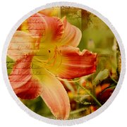 Daylily Memories Round Beach Towel