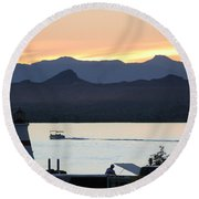 Days End At The Lake Round Beach Towel