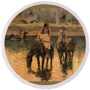 Days Of Long Ago Detail Round Beach Towel