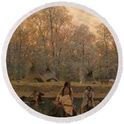 Days Of Long Ago Round Beach Towel