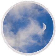 Daytime Moon Round Beach Towel