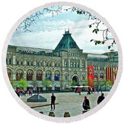 Daytime View Of Gum-former State Department Store-in Red Square In Moscow-russia Round Beach Towel