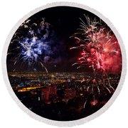 Dazzling Fireworks II Round Beach Towel by Ray Warren