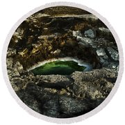 Dead Sea Sink Holes Round Beach Towel by Dan Yeger