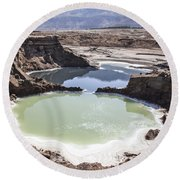Dead Sea Sinkholes  Round Beach Towel