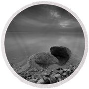 Dead Sea Sunrise Black And White Round Beach Towel by David Morefield