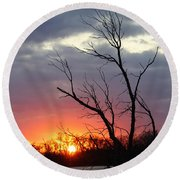 Dead Tree At Sunset Round Beach Towel