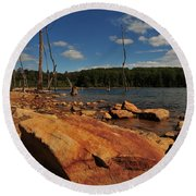 Dead Trees And Rocks Round Beach Towel