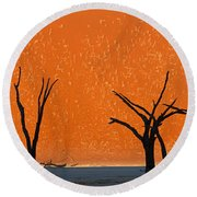 Dead Trees By Red Sand Dunes, Dead Round Beach Towel