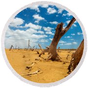 Dead Trees In A Desert Wasteland Round Beach Towel