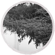 Deadfall Reflection In Black And White Round Beach Towel
