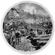 Deadwood South Dakota C. 1876 Round Beach Towel