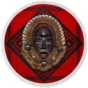 Dean Gle Mask By Dan People Of The Ivory Coast And Liberia On Red Leather Round Beach Towel