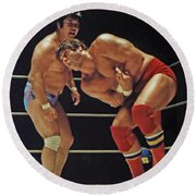 Dean Ho Vs Don Muraco In Old School Wrestling From The Cow Palace Round Beach Towel