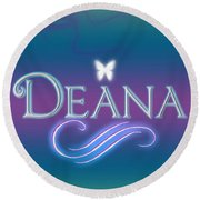 Deana Name Art Round Beach Towel