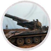 Death Dealer II  8 Inch Howitzer  At Lz Oasis Vietnam 1968 Round Beach Towel