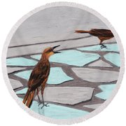 Death Valley Birds Round Beach Towel