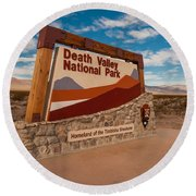 Death Valley Entry Round Beach Towel