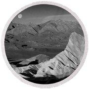 Death Valley Zabriskie Point Bw Img 0525psd Round Beach Towel