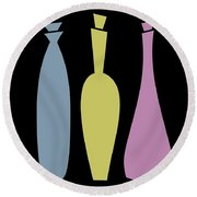 Decanters On Black 2 Round Beach Towel