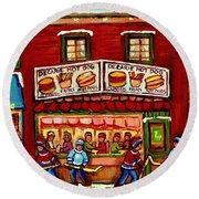 Decarie Hot Dog Restaurant Cosmix Comic Store Montreal Paintings Hockey Art Winter Scenes C Spandau Round Beach Towel