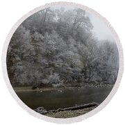 December Morning On The River Round Beach Towel