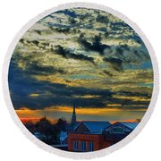 December Sunrise In Annapolis Round Beach Towel