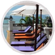 Deckchairs Round Beach Towel
