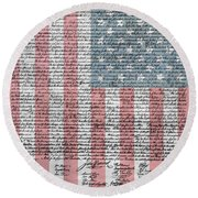 Declaration Of Independence Round Beach Towel by Dan Sproul