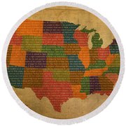 Declaration Of Independence Word Map Of The United States Of America Round Beach Towel