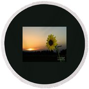 Sunflower And Sunset Round Beach Towel