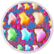 Deco Pattern Patchup Collage Crystals Jewels Rose Flower Petals Round Beach Towel