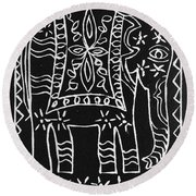 Decorated Elephant Round Beach Towel