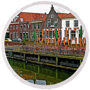 Decorations For Orange Day To Celebrate The Queen's Birthday In Enkhuizen-netherlands Round Beach Towel