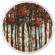 Decorative Abstract Floral Bird Landscape Painting Forest Of Dreams II By Megan Duncanson Round Beach Towel by Megan Duncanson