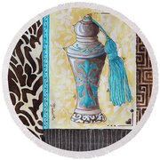 Decorative Bathroom Bath Art Original Perfume Bottle Painting Luxe Perfume By Madart Round Beach Towel