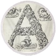 Decorative Letter Type A 1650 Round Beach Towel