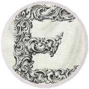 Decorative Letter Type E 1650 Round Beach Towel