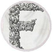 Decorative Letter Type F 1650 Round Beach Towel