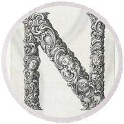 Decorative Letter Type N 1650 Round Beach Towel