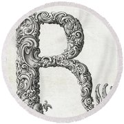 Decorative Letter Type R 1650 Round Beach Towel