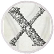 Decorative Letter Type X 1650 Round Beach Towel