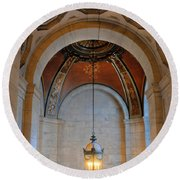 Decorative Light At The New York Public Library Round Beach Towel