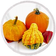 Decorative Pumpkins Round Beach Towel