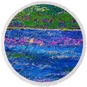Deep Blue Texture Abstract Round Beach Towel