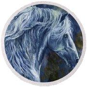 Deep Blue Wild Horse Round Beach Towel