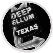Deep Ellum Black And White Round Beach Towel