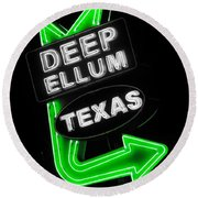 Deep Ellum In Green Round Beach Towel