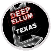 Deep Ellum In Red Round Beach Towel