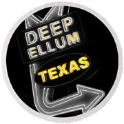 Deep Ellum In Yellow Round Beach Towel